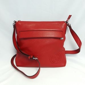 New GUCCI 322059 Red Leather Messenger Bag